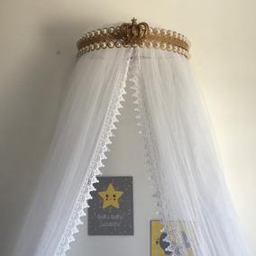Dossel Coroa Dourado Pérola + Mosquiteiro Renda Guipir