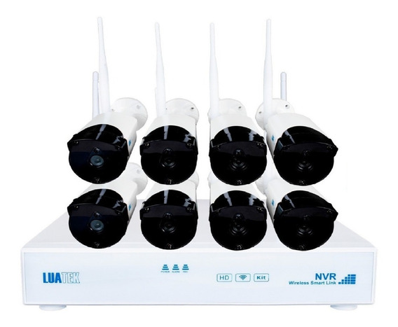 Kit C/8 Câmeras De Segurança Residencial Luatek 720p - 400mt