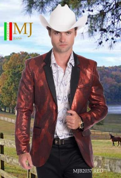Saco Caballero Premium Marca Moderno Mj 2037 Dorado/rojo
