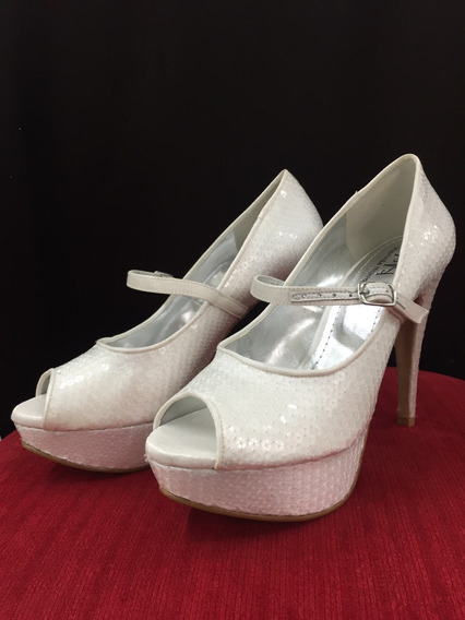 Sapato De Noiva - Salto Alto Meia Pata Retrô Paete Brilho
