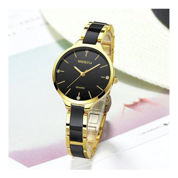 Relógio Feminino Nibosi Original Dourado Resistente À Água