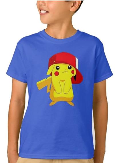Remera Anime Pokemon Pikachu Niños