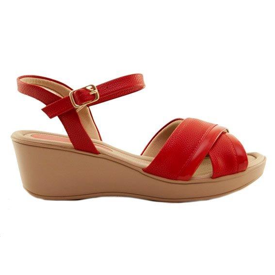 Sandalias Mujer Cuero Ecológico Rojo Taco Chino Piccadilly