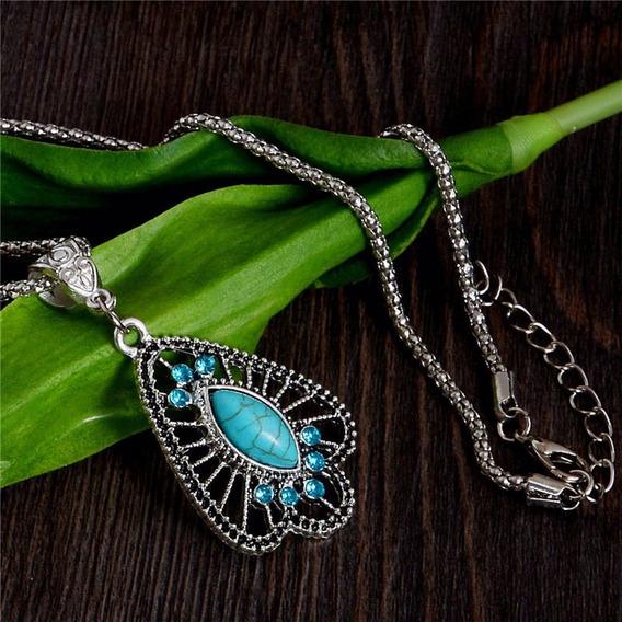 Colar Vintage Pingente Geometrico Azul Turquesa Tibetano