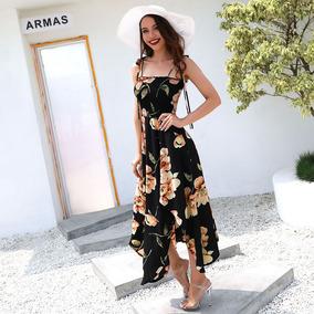 Vestido Sin Mangas Mujeres Sexy Midi Impresión Floral Dobla