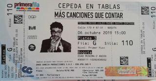 2 Boletas Para Andrés Cepeda En Tablas
