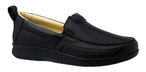 Sapato Masculino Neuroma De Morton Em Couro Preto 3055