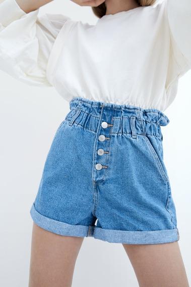 Short Cintura Alta Jeans Feminino - Zara Tam 36