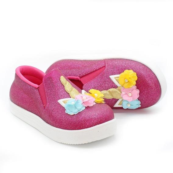Tenis Iate Infantil Feminino Unicornio Com Glitter Pink Ll
