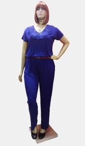 Macacão Plus Size Blusê Malha E Renda- 147