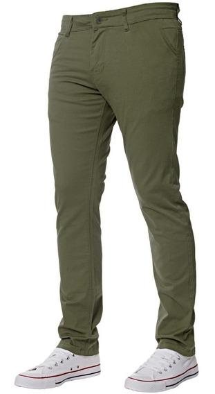 Pantalón De Gabardina De Hombre Corte Chino Varios Colores