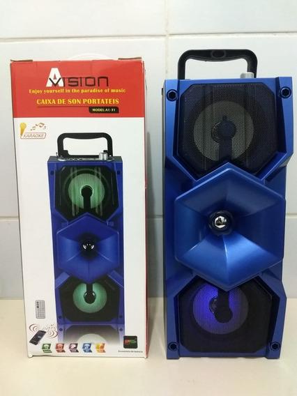 Caixa Som Bluetooh Usb Sd Rádio Karaokê Mic + Controle A1-31