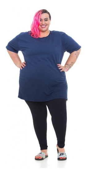 Camiseta Plus Size Wonder Size Malha Marinho