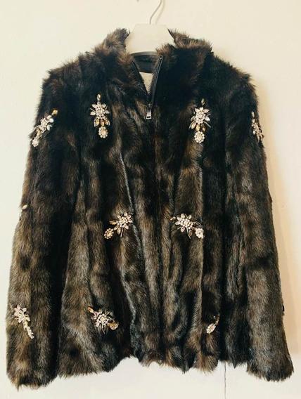 Abrigo Pelo Con Detalles Brillantes Zara