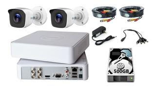 Kit Video Vigilancia 2 Cámaras Hd 720p / 1mp Hilook 500gb