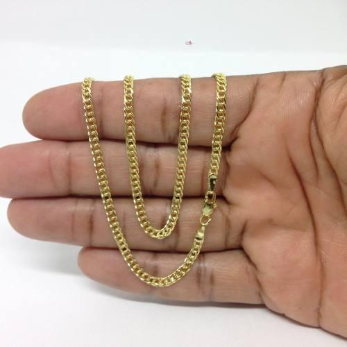 Cordão Grumet Dupla Folheada A Ouro 18k Masculina 3mm 70cm