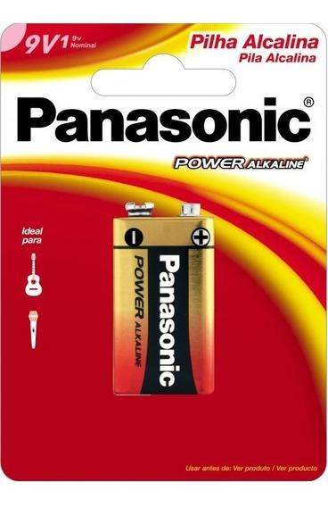 Bateria Alcalina Power 9v Panasonic Kit Com 12 Unidades
