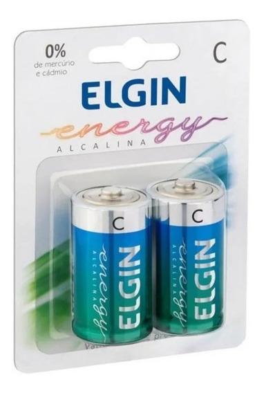 Pilha Alcalina C Elgin Lr14 1,5 V Com 4 Unidades