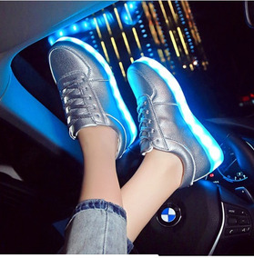 4ad280b6 Zapatos Plateados Mujer Led Luminosos 7 Luces Disponible