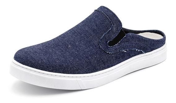 Babuche Mule Masculino Casual Azul Jeans Calcanhar Aberto