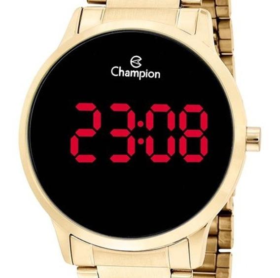 Relógio Champion Feminino Digital Dourado Redondo Original