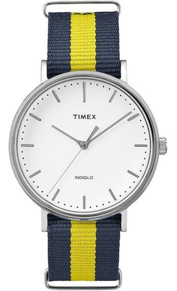 Relógio Timex Weekender Tw2p90900ww/n Pulseira De Nylon