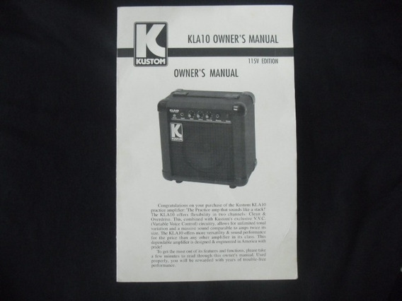 Manual Original Amplificador Kustom Kla 10