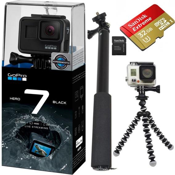 Gopro Hero 7 Black + Cartão 32gb Ext + Bastao Selfie + Tripé