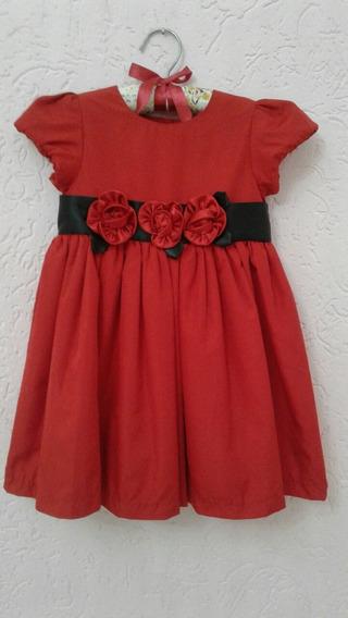 Vestido De Festa Para Bebês Tamanho 2 Anos, Tafetá Vermelho