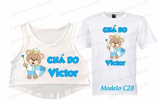 Kit 3 Camisetas Chá De Bebê Ursos Príncipes Princesas