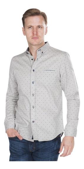 Camisas Hombre Slim Fit Gris Casuales Manga Larga B85108