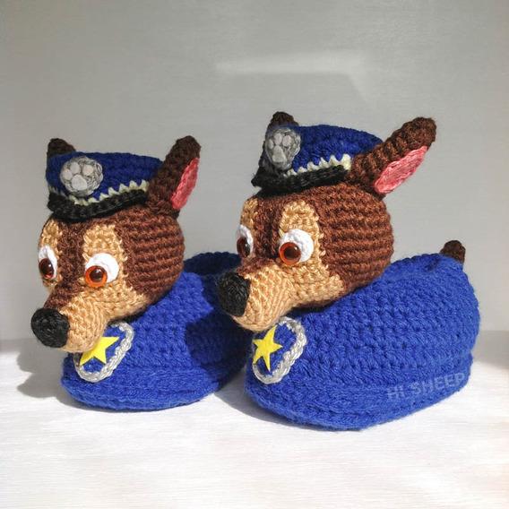 Pantuflas Chase Paw Patrol Al Crochet - Talle 22