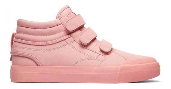 Zapatilla Dc Evan Hi Cuero Rosa Botita Con Velcro De Mujer