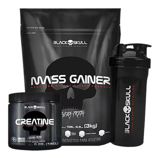 Kit Para Força: Gainer 3kg + Creatine + Shaker - Black Skull