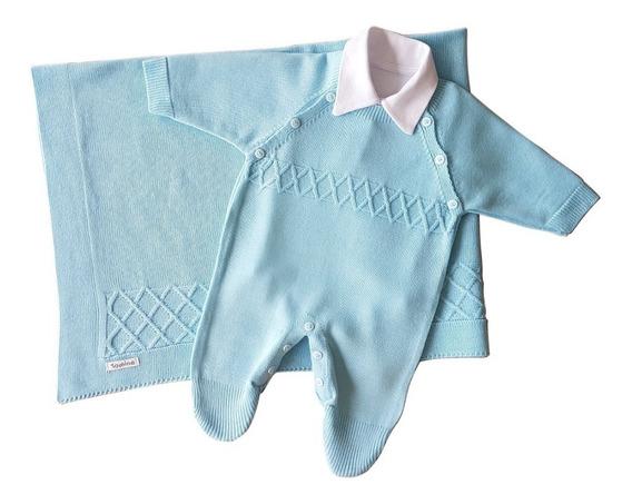 Saída De Maternidade Menino Azul Tricô Luxo 3 Peças