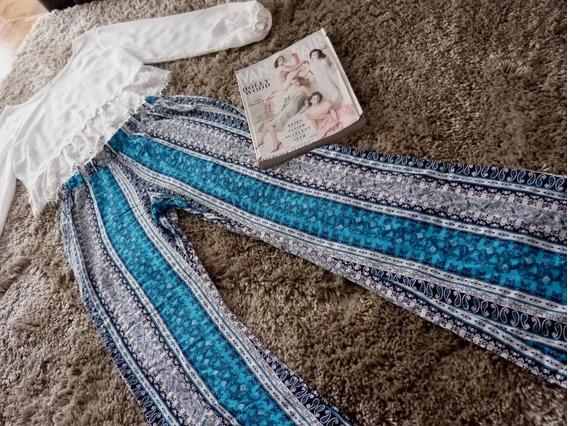 Calça Boho Pijama Azul Estampada
