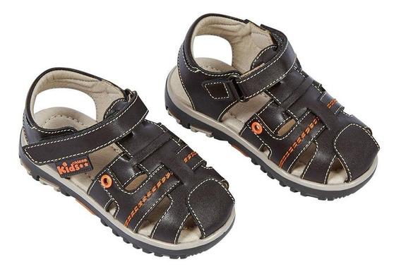 Zapato Sandalia Niño Tipo Cangrejera Color Chocolate Con Con