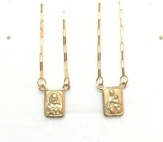 Escapulário Ouro 18k Cartier Pequeno 2,7 Gr Dupla Face