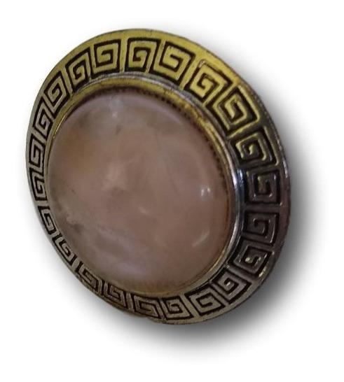 Anel Ajustável Com Pedra Natural Quartzo Rosa Ref: 9822