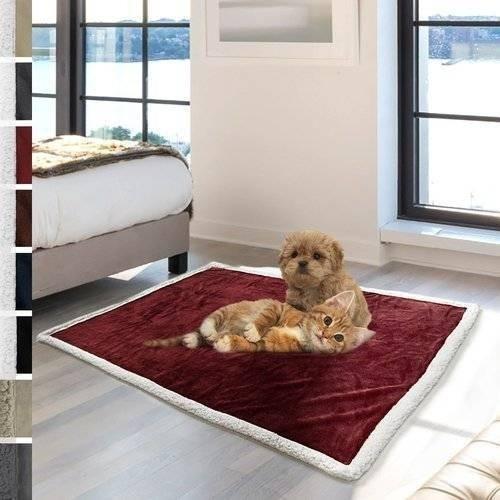 Imagen 1 de 5 de Mascota Gato Perro Cachorro Premium Sherpa Peluche Manta Tam