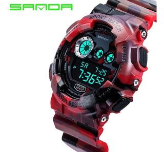 Reloj Hombre Sanda Digital Resistente Militar Camuflado