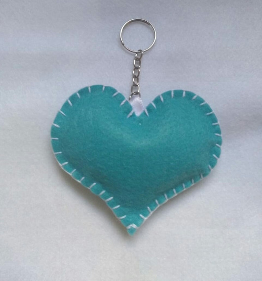 60 Chaveiros Coração Azul Feltro Lembrancinha Debutante