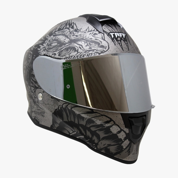 Casco Para Moto Taff Kroon Drako Ice Gris Mate