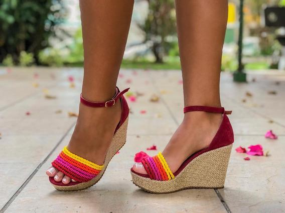 Sandália Plataforma Colorida