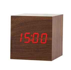 Relógio Led Clock Madeira Vermelho - Ledclockmarron