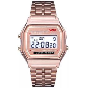 Relógio Unissex Estilo Vintage Quadrado Wr Aço Inoxidável