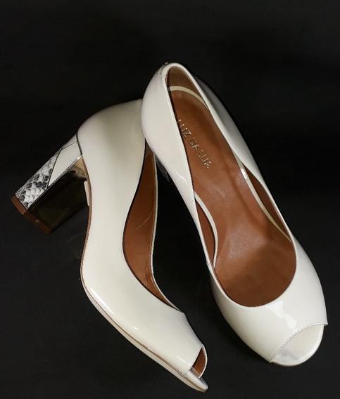 Sapato Peep Toe Feminino Luz Da Lua Verniz - Panna