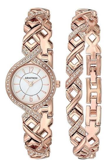 Reloj Armitron Mujer Set Pulsera Oro Nuevo Orig