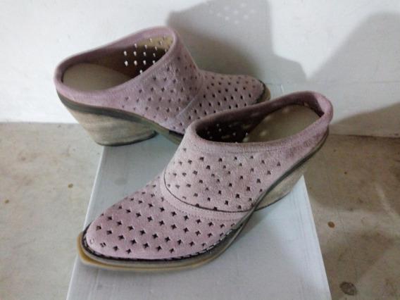 Sueco Nobuk Color Rosa Con Suela De Goma