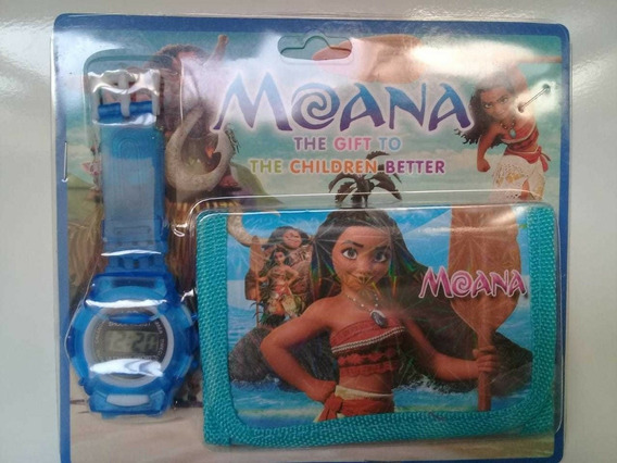 Relógio Infantil + Carteira Da Moana + Brinde